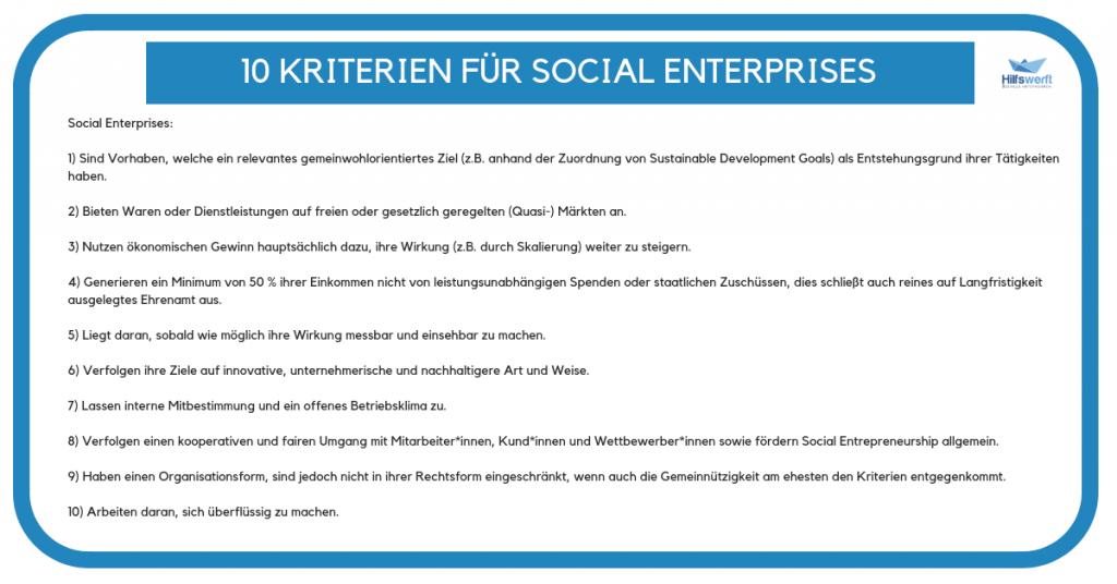 Kriterien für Social Enterprises
