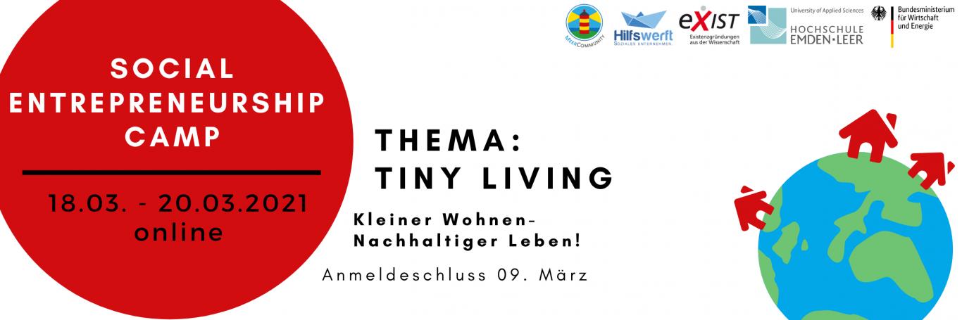 Titielbild zum Social Entrepreneurship Camp zum Thema Tiny Living vom 18. bis zum 20. März